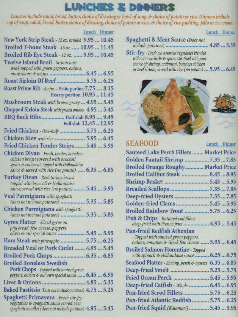 Lunch, Dinner, and Beverages Menu - Twelve Islands Restaurant